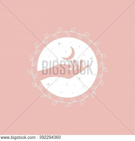 Vector Abstract Logo Design Template In Trendy Linear Minimal Style - Hands, Moon And Stars - Abstra