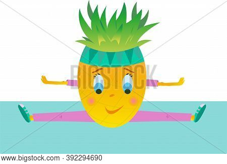 Vector Cheerful Pineapple Sits On A Twine. Pineapple Goes In For Sports.