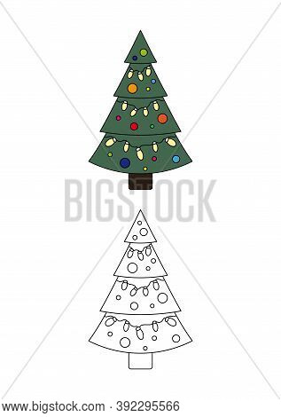 Christmas Coloring Page. Christmas Tree With Garland. Coloring For Kids.
