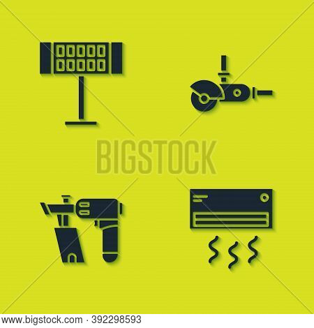 Set Electric Heater, Air Conditioner, Nail Gun And Angle Grinder Icon. Vector