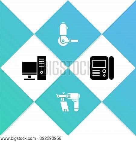 Set Computer Monitor, Nail Gun, Angle Grinder And House Intercom System Icon. Vector
