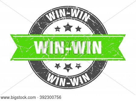 Win-win Round Stamp With Green Ribbon. Win-win