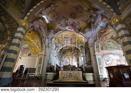 Bobbio, Italy, August 20, 2020 - The Inner Of The Cathedral Of Bobbio, Santa Maria Assunta, Is A Par