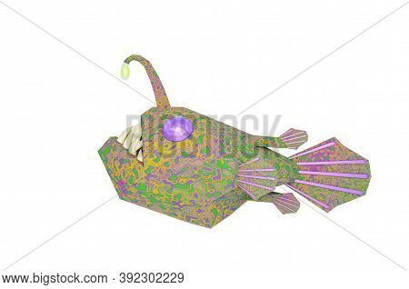 A Bright Multicolored Angry Deep-sea Angler Fish With Sharp Teeth. 3d Illustration