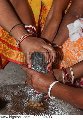 Haldi Festive Bengali Wedding Working Together Stock Photo
