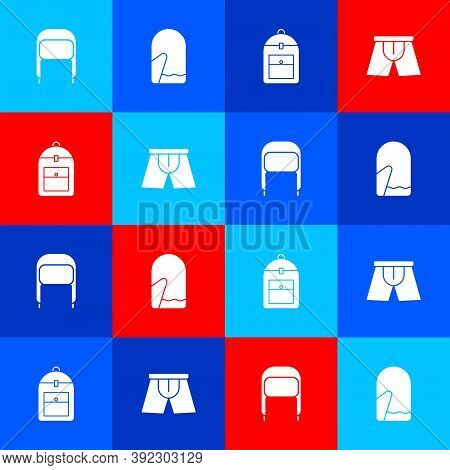 Set Winter Hat With Ear Flaps, Christmas Mitten, Backpack And Men Underpants Icon. Vector