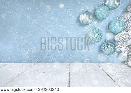 Festive Background With Blue Xmas Balls