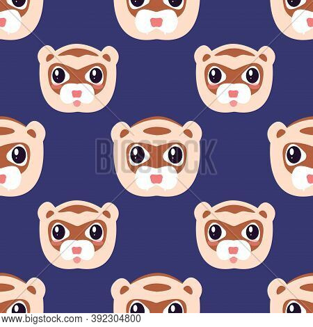 Vector Seamless Fun Children's Pattern With Funny Ferret Faces On A Dark Purple Background