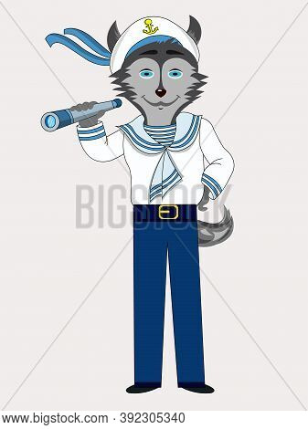 Isolated Character Dog Husky Sailor Profession Holds Spyglass Vector