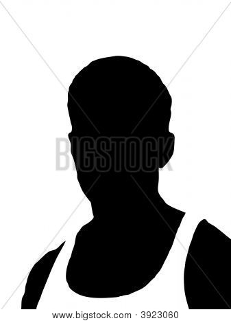 Silhouette Of Man Isolated On White