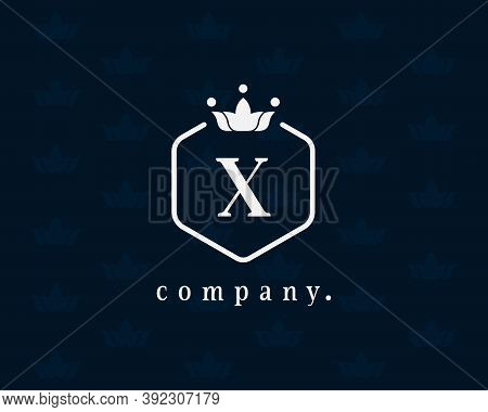 Letter X Royal Crown And Floral Luxury Logo Design Template Elements. Elegant Crest Logo Icon Vector