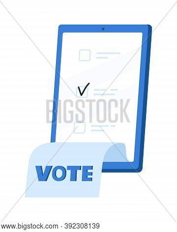 Voting Online, E-voting, Election Internet System, Survey. Concept Of Online Choices With Bulletins