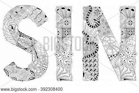 Zentangle Stylized Sin For Coloring. Hand Drawn Lace Vector Illustration