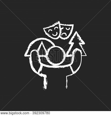 Camp Counselor Chalk White Icon On Black Background. Summer Job. Outdoor Pursuits. Creating Recreati