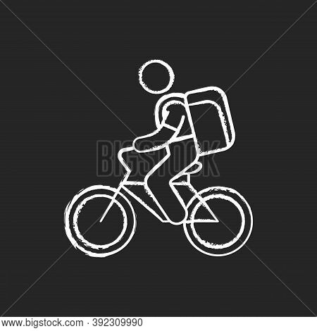 Food Delivery Person Chalk White Icon On Black Background. Meal And Groceries Delivery. Restaurant T