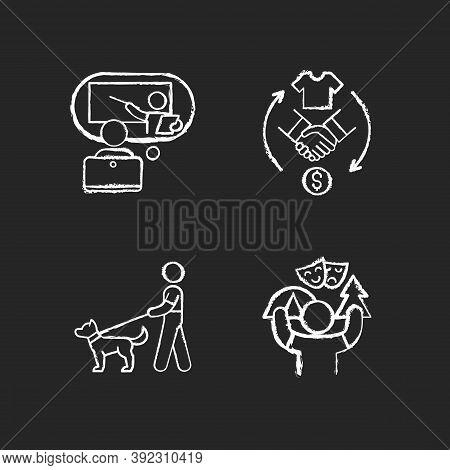 Job Opportunities Chalk White Icons Set On Black Background. Online Tutor. Reseller. Dog Walker. Cam