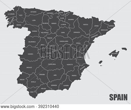 The Spain Isolated Map Divided In Provinces With Labels