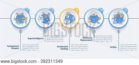 Ai Threats Vector Infographic Template. Autonomous Futuristic Weapon Presentation Design Elements. D