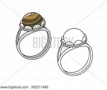 Silver Ring With Topaz. Linear Drawing On A White Background.