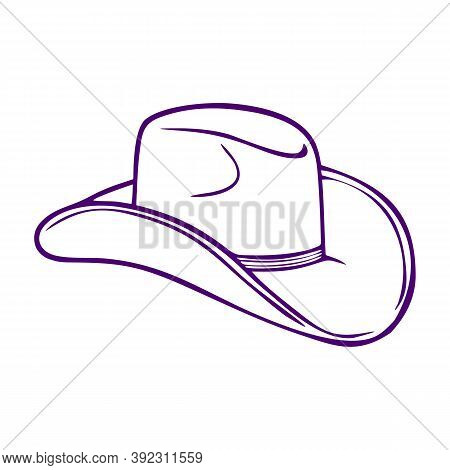 Silhouette Of A Cowboy Hat. Headdress Icon, Hat. Isolated Outline On A White Background. Flat Style
