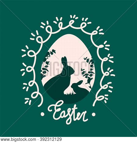 Vector Easter Bunnies On A Greeting Card. The Illustration Is Made In The Flat Style For The Spring