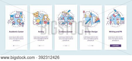 Top Careers For Creative Thinkers Onboarding Mobile App Page Screen With Concepts. Academic Career W