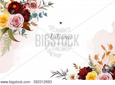 Mustard Yellow And Dusty Pink Rose, Burgundy Red Dahlia, Emerald Green And Teal Blue Eucalyptus, Ora