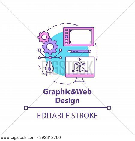 Graphic And Web Design Concept Icon. Top Careers In It For Creative Thinkers. Creation Of Art Graphi