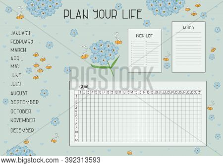 Plan Your Life Set With Wish List, Notes, Goal And Habit Tracker For The Year With Months List For S