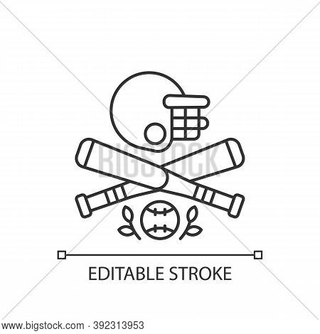 Baseball Linear Icon. Bat-and-ball Game. Sport Participation. Batting And Fielding. Softball. Thin L