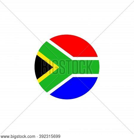 South African Round Flag Icon. National South Africa Circular Flag Vector Illustration Isolated On W