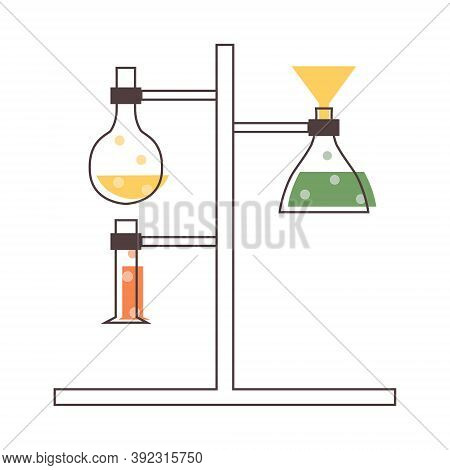 Set With Medical Laboratory Equipment. Holder With Test Tube. Soleted Vector Flat Illustration