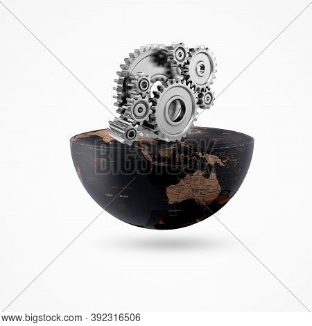 Earth On Gear Isolate Background, Global Engineering Day, Engineering Day, Engineering Day, Engineer
