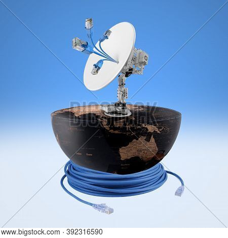 World Information Society Day, Satellite Receiver On Half Earth, World Telecommunication Day, Inform