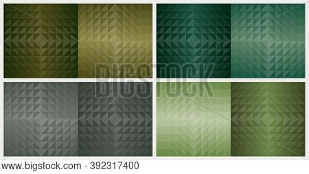 Geometric Triangle Shapes, Abstract Pattern Background. Earth Tone Green Color Design Set. Vector Il