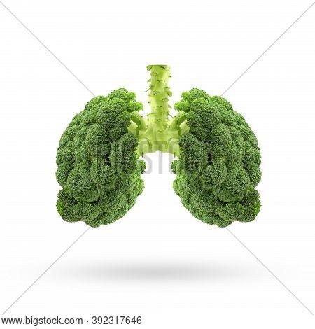 Conceptual Image Of Green Broccoli  Shaped Like Human Lungs, Green Broccoli Shaped In Human Lungs. C