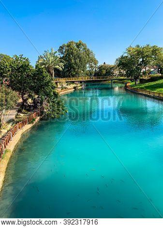 The River Amal Flows Through The Kibbutz Nir David In The Valley Of Beit Shean. Israel. Nir David Co
