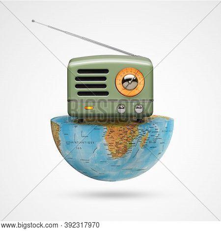 World Radio Day, Antique Radio Receptor On A  World On White Background, With A Retro Effect, Creati