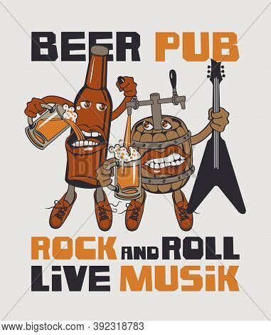 Banner For Rock And Roll Pub With Inscriptions Pub, Rock-n-roll, Beer, Best In Town. Vector Illustra