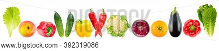 Panoramic skinali of fruits and vegetables in row Isolated on white background.