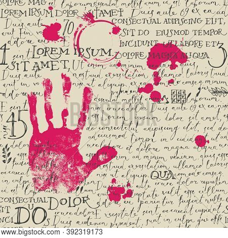 Abstract Seamless Pattern With Black Handwritten Lorem Ipsum Text, Pink Handprint And Ink Blots On A