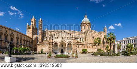 Palermo, Italy - March 5, 2020: Panorama of the Palermo Cathedral Duomo di Palermo in Palermo, Sicily, Italy