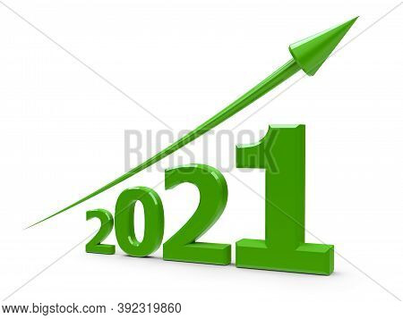 Green Arrow Up Represents The Growth In 2021 Year, Three-dimensional Rendering, 3d Illustration