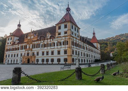 Graz, Austria-october 14, 2019: Colorful Autumn Colors, Bright Blue Sky In The Park And Eggenberg Pa