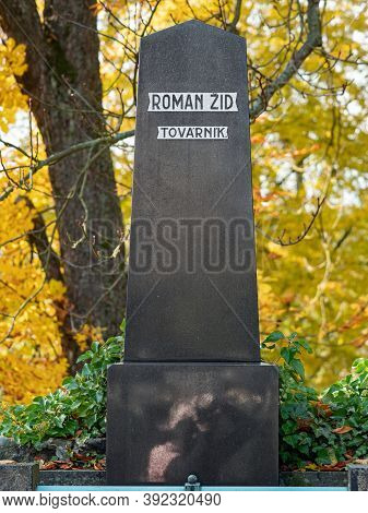 Tombstone Dedicated To Roman Zid, Factory Owner. 24th Of October 2020. Hronov, Czechia. Polished Gra
