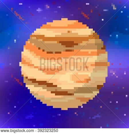 Bright Jupiter, Cute Planet In Pixel Art Style On Space Background