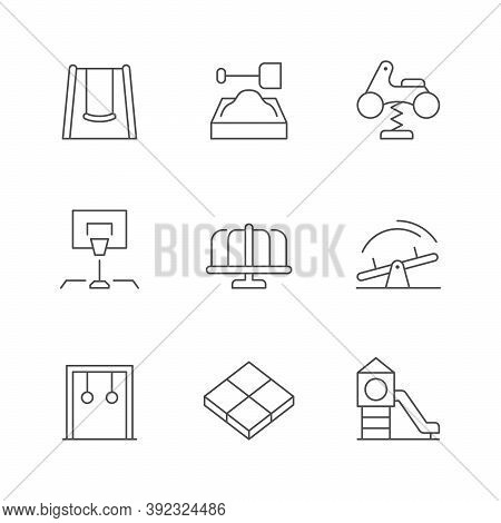 Set Line Icons Of Playground Isolated On White. Swing, Sandbox, Spring Rider, Basketball Equipment,