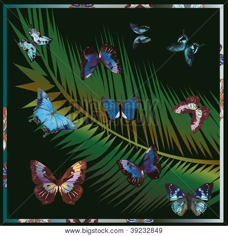 illustration with tropical butterfly on dark background