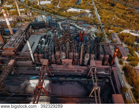 Metallurgical Plant With Blast Furnace, Drone Aerial View