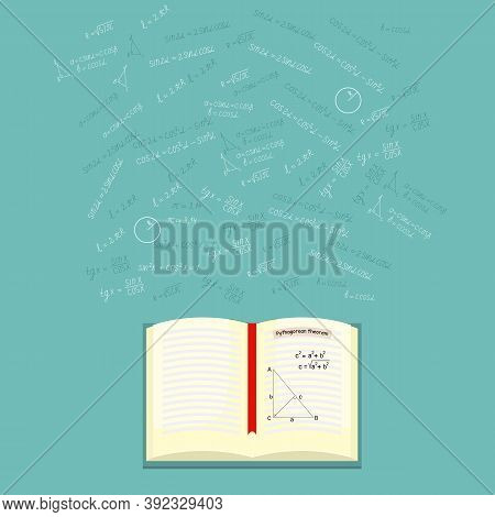 Mathematics, Geometry Background With An Open Book On Mathematics And Formulas, Shapes, Sine, Cosine